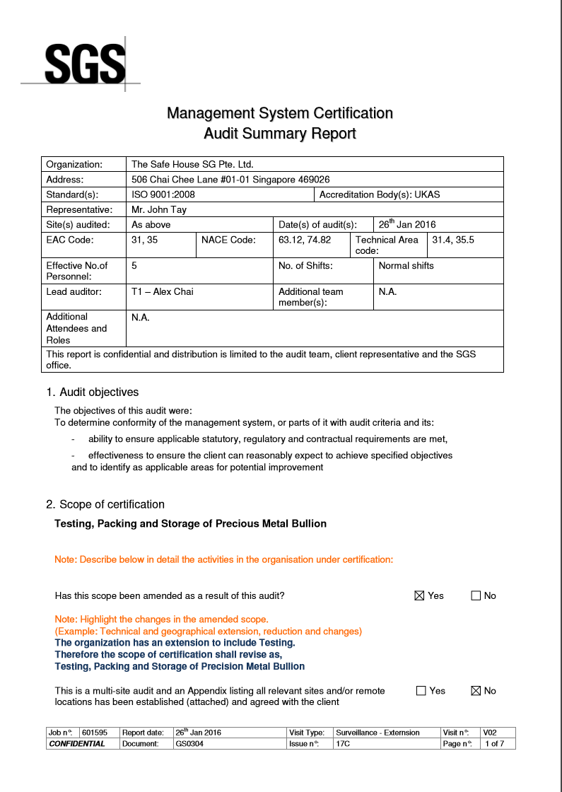 Insurances, Agreements & Audit Reports - The Safe House SG
